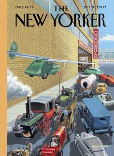 """The New Yorker - Monday, September 28, 2009 - Issue # 4326 - Vol. 85 - N° 30 - Cover """"Museum Parking"""" by Bruce McCall"""
