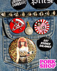 Blitzkrieg Buttons and NEW cloisonne enamel PORK face pin! In the PORK SHOP!