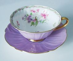 Most popular tags for this image include: purple tea cup and saucer, etsy, lavender, pretty and purple
