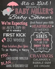 Pink/Grey Elephant Baby Shower Chalkboard by LaLaExpressions