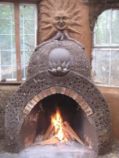 """A """"rumford"""" inspired cob fireplace. Rumford Fireplace, Open Fireplace, Fireplace Design, Fireplaces, Fireplace Outdoor, Cob Building, Building Systems, Building A House, Green Building"""
