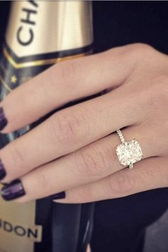 engagement ring ideas cushion cut diamond with pave band 1