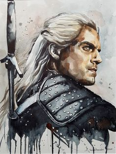 Catawiki online auction house: Maria Sochaczewska - The Witcher The Witcher Geralt, Witcher Art, Watercolor Portraits, Watercolor Art, Character Illustration, Illustration Art, Witcher Tattoo, Witcher Wallpaper, The Witcher Wild Hunt