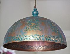 Modern Dome Hanging Light Ceiling Pendant Chandelier Lamp Metal Fixture Boho Shabby Chic Copper Gold Kitchen Bedroom Hardwired MySecretLite