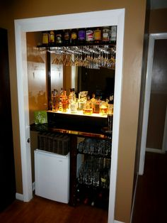 Home theaters concession Closet bar, maybe turn the closet in the new theater room into a bar / concession stand Closet Conversion, Closet Bar, Basement Closet, Basement Bars, Basement Ideas, Bar A Vin, Home Bar Designs, Caves, Diy Bar