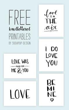 Free Printable Valentinstag | Valentine | Handlettering by sodapop-design.de