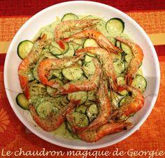 Pâtes Sauce Courgette et Gambas au Citron WW au Thermomix - Le chaudron magique