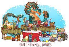 dragon hoard of tropical drinks by iguanamouth