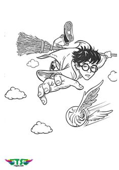 Harry Potter riding broom Nimbus and chasing Quidditch coloring page for kids. Harry Potter J.K rowling Ninjago Coloring Pages, Bee Coloring Pages, Sports Coloring Pages, Cartoon Coloring Pages, Disney Coloring Pages, Printable Coloring Pages, Coloring Books, Coloring Sheets, Colouring
