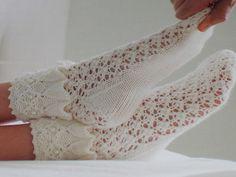 Ravelry: Sweet Nothings pattern by Pauline Schultz Crochet Doily Rug, Crochet Mittens, Crochet Slippers, Knitting Socks, Knit Crochet, Crochet Baby, Fishnet Socks, Lace Socks, Burgundy Skater Skirt