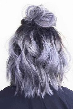 Silver gray ombre hair color ideas for short hair managed to supplant the burnin.,Silver gray ombre hair color ideas for short hair managed to supplant the burning red, cold blue and extravagant purple hair dye. This shade is quite,. Grey Ombre Hair, Dyed Hair Purple, Dye My Hair, Pastel Purple Hair, Purple Bob, Light Purple Hair, Dyed Hair Pastel, Pastel Colored Hair, Hair Color Purple