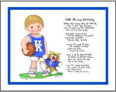 Kentucky Wildcats custom college basketball art print Wait for Me | kidsntraining - Reproduction on ArtFire