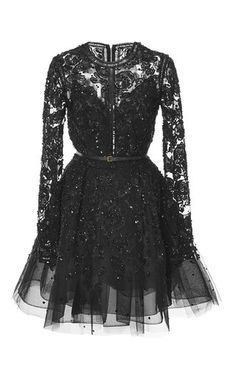Embroidered Tulle Short Dress by ELIE SAAB for Preorder on Moda Operandi