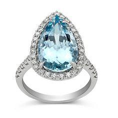 18K White Gold Pear Shape Aquamarine and Round Diamond Halo Ring ~ I Love this ring!!