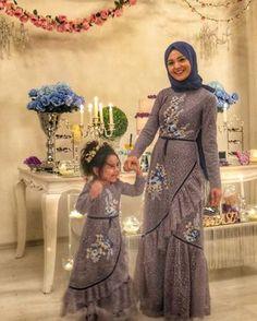 Sewing Baby Dress Daughters Ideas For 2019 Hijab Prom Dress, Hijab Gown, Muslim Dress, Abaya Fashion, Muslim Fashion, Fashion Dresses, Dress Outfits, Mother Daughter Fashion, Mother Daughters