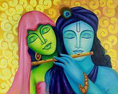 Imgs For > Acrylic Canvas Painting Of Krishna Radha Buddha Painting, Krishna Painting, Acrylic Canvas, Canvas Art, Poster Rangoli, Hare Rama Hare Krishna, Krishna Radha, Krishna Leela, Indian Art Paintings