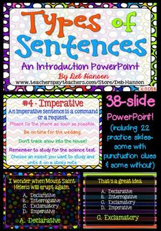An Introduction to Types of Sentences: declarative, interrogative, imperative, and exclamatory