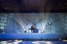 reception stage decor, winter wonderland decor, icy blue decor, blue and grey…