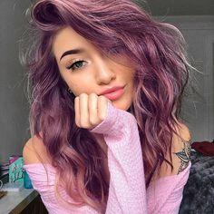 Coloredhairstyles ombre hair, hair dye, hair looks, fun hair color, hai Hair Dye Colors, Cool Hair Color, Hair Color Pink, Hair Color Ideas, Girl With Purple Hair, Pink Purple Hair, Purple Hair Dyes, Rainbow Hair Colors, Pink Hair Tips