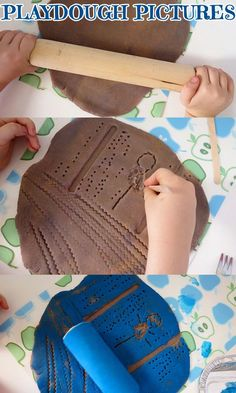 This activity is perfect for inviting children to explore and create with a familiar material - playdough - in new and interesting way. Playdough Activities, Preschool Activities, Toddler Art, Toddler Preschool, Projects For Kids, Art Projects, Preschool Arts And Crafts, Kindergarten Art, Creative Kids