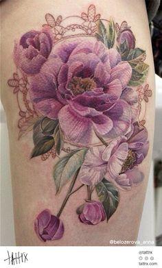 Anna Belozyorova Tattoo - Pink Peonies and Lace