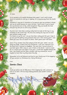 Sample Letters From Santa Claus | Letter from Santa Claus personalised for your kids – Australia