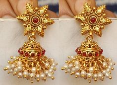Beautiful Gold Tone Red Earrings with White Pearl Simulant.