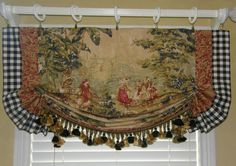 Beautiful way to show off that toile fabric scene. Custom Made French Country Bosporus Toile Vintage Red Covington Balloon Valance French Country Kitchens, French Country Bedrooms, French Country Cottage, French Country Style, French Country Curtains, Tuscan Kitchens, French Decor, French Country Decorating, Country Kitchen Curtains