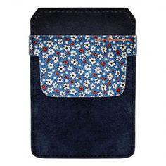Leather Bottle Opener Pocket Protector w/ Designer Flap - Denim Floral - 500