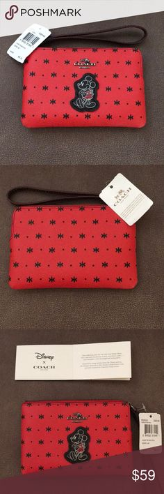 COACH - DISNEY WRISTLET Brand new - Authentic Disney*Coach Product  New with tags attached ~ product care card included  Color:  Bright red w/black highlights Coach Bags Clutches & Wristlets