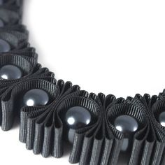Charcoal Chunky Statement Pleated Ribbon Necklace