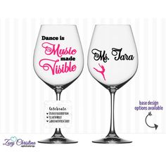 Dance Mom Dance Teacher Dance Gifts Wine Glass With Name Included ($15) ❤ liked on Polyvore featuring home, kitchen & dining, drinkware, barware, drink & barware, home & living, pink, wine glasses & charms, pink wine glass and pink glassware