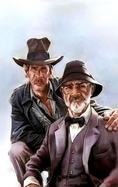 illustration done by Movie Indiana Jones. Harrison Ford (as Indiana Jones) and Sean Connery (his dad). 🌻 For more great pins go to Cartoon Faces, Funny Faces, Cartoon Art, Cartoon Characters, Funny Caricatures, Celebrity Caricatures, Sean Connery, Harrison Ford, Indiana Jones