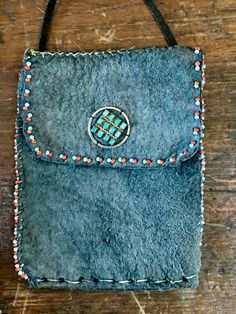 Medicine Bag Suede Leather Hand Beaded Turquoise Sterling Silver