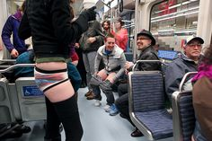 For the 4th Annual No Pants Light Rail Ride, dozens of people piled onto the Sound Light Rail and headed to SeaTac airport from Westlake Center. The No Pants Subway Ride is an annual global event started by Improv Everywhere in New York in 2002. January 13th 2012. (Joshua Lewis / KOMO News)