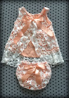 Peach Crochet Lace Swing Top Shirt and Bloomer Diaper Cover Set, Boutique Romper Dress for Baby Birthday or Photo Shoot by BellaBumbleBee on Etsy https://www.etsy.com/listing/232027613/peach-crochet-lace-swing-top-shirt-and