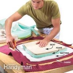 How to reupholster a chair, from The Family Handyman. This is Photo 1: Cut the foam, batting and fabric #ChairDIY