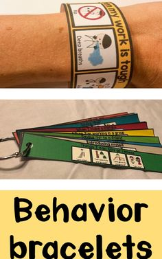 Behavior and social skills bracelets to visually remind students of the appropriate behavior and actions for different social interactions. Encourages students to follow directions, demonstrate emotional control, raise their hand, stay calm, deal with mistakes, deal with losing, responding to teasing, feeling mad. #socialskills #social #behavior #expected #socialemotional #SEL #aba #appliedbehavioranalysis #bcba #autism #asd #pragmatics #speech #slp #speechlanguage #socialrules…