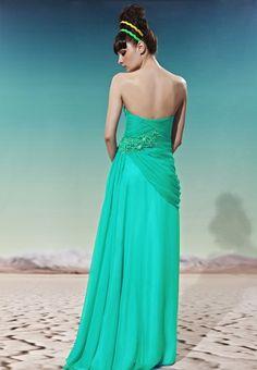Sheath/Column Strapless Floor-length Chiffon Emerald Prom Dress with Emboridery