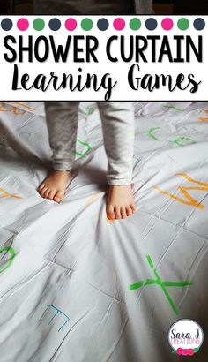 Create learning games on giant shower curtains with these easy directions and ideas. Perfect for ABCs, numbers, sight words, math problems and more. Also great for a giant rosary for Catholic classrooms. Preschool Learning, Kindergarten Activities, Early Learning, Learning Activities, Preschool Activities, Preschool Lessons, Outdoor Activities, Teaching The Alphabet, Preschool Alphabet