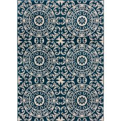 Well-woven Bright Trendy Twist Mediterranean Tile Scrolls Navy Blue... ($90) ❤ liked on Polyvore featuring home, rugs, blue, beige rugs, plush rugs, navy blue rug, ivory rugs and navy area rug
