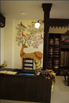 A copy of this Gond Tribal Art (India) onto a wall in my home.