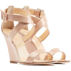 Giuseppe Zanotti Patent Leather Wedge Sandals (1.305 BRL) ❤ liked on Polyvore featuring shoes, sandals, wedges, heels, sapatos, camel, women, open toe wedge shoes, wedge heel sandals and wedge sandals