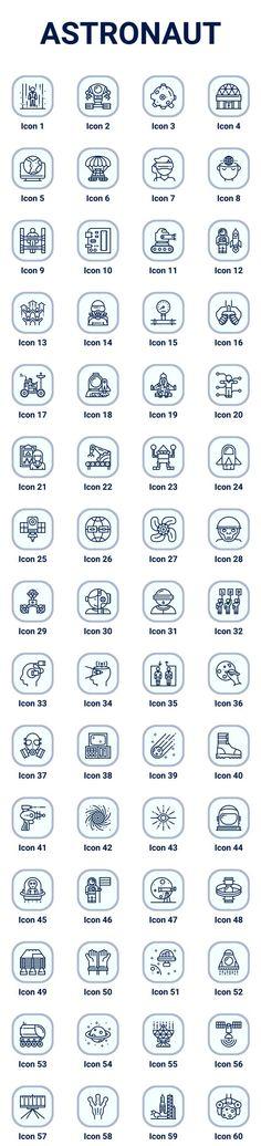 astronaut icon set - Animation Line Icons