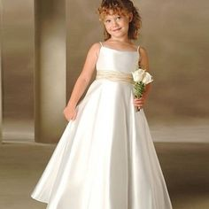 68.00$  Buy here - http://alifc7.shopchina.info/go.php?t=32451614153 - Elegant Ankle-Length Ball Gown Plus Size White Corset Spaghetti Straps Ruched Little Girl Dresses for Wedding With Sash  #buyonline