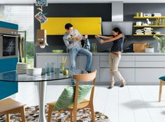 Schüller Nova Matt Kitchen - Schuller by Artisan Interiors Yellow Kitchen Cupboards, Kitchen Cabinet Colors, Kitchen Colors, Kitchen Design, Kitchen Ideas, Kitchen Inspiration, Open Plan Kitchen Dining, Kitchen Dining Living, Dining Rooms
