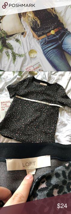 5c9c79dd54 Loft animal print cheetah grey sweater size small NWT
