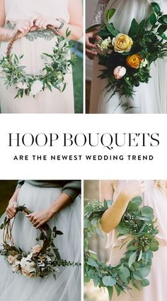 It's all about going circular when it comes to bridal blooms in 2017. Here some gorgeous hoop bouquet ideas.