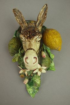 MENTON French majolica wall pocket in the form of a donkey with lemons