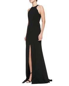 Escada - Sleeveless Front-Slit Open-Back Gown, in black. OBSESSED!